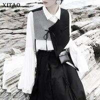 XITAO Splice Irregular Plaid Vest Women Bandage Short Top Women Fashion Harajuku Style Sleeveless Women Clothes 2019 XJ2078