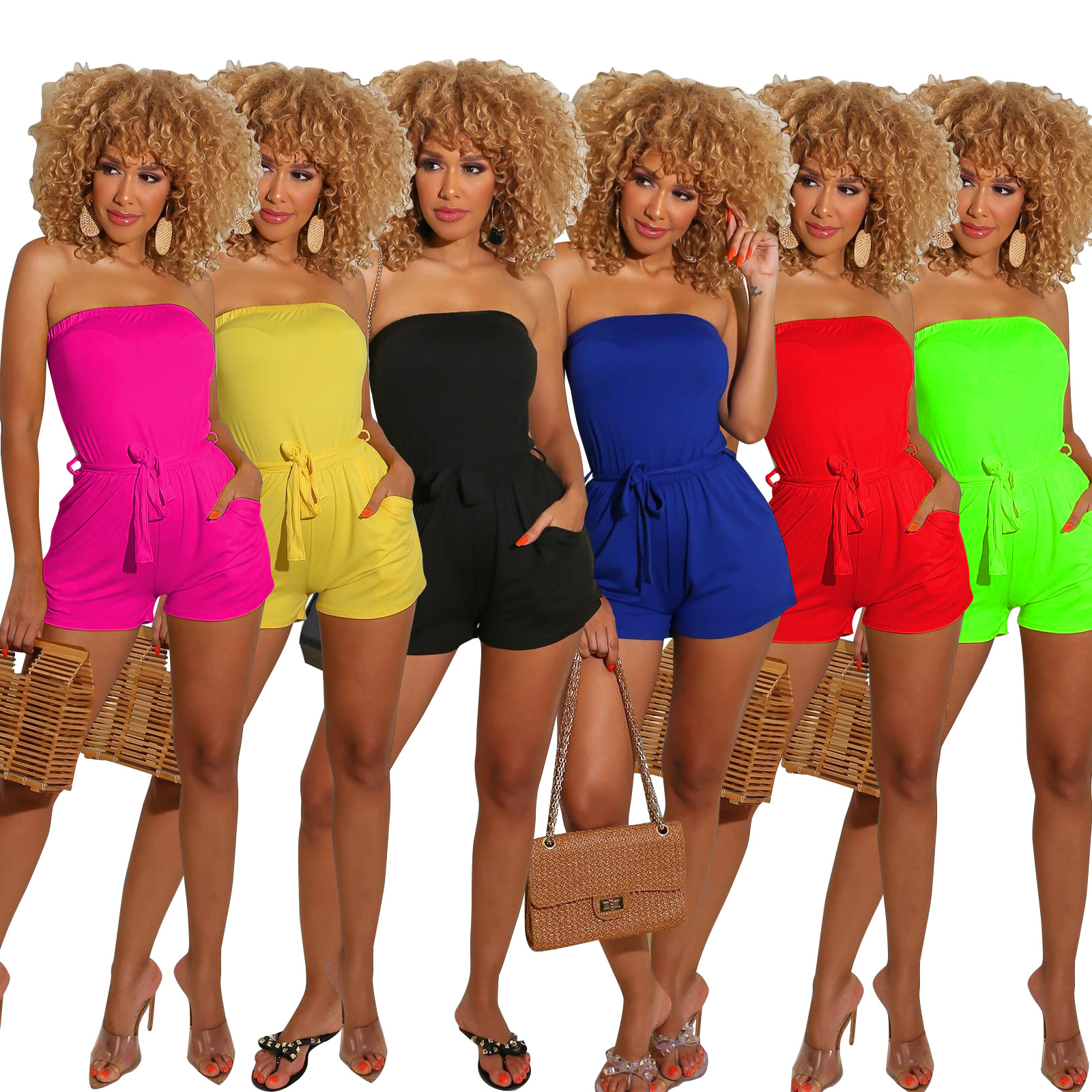 Echoine 2020 summer Sport Women Solid Color Strapless With Sashes Sexy Bodysuit Jumpsuit High Street Overall Romper Playsuit
