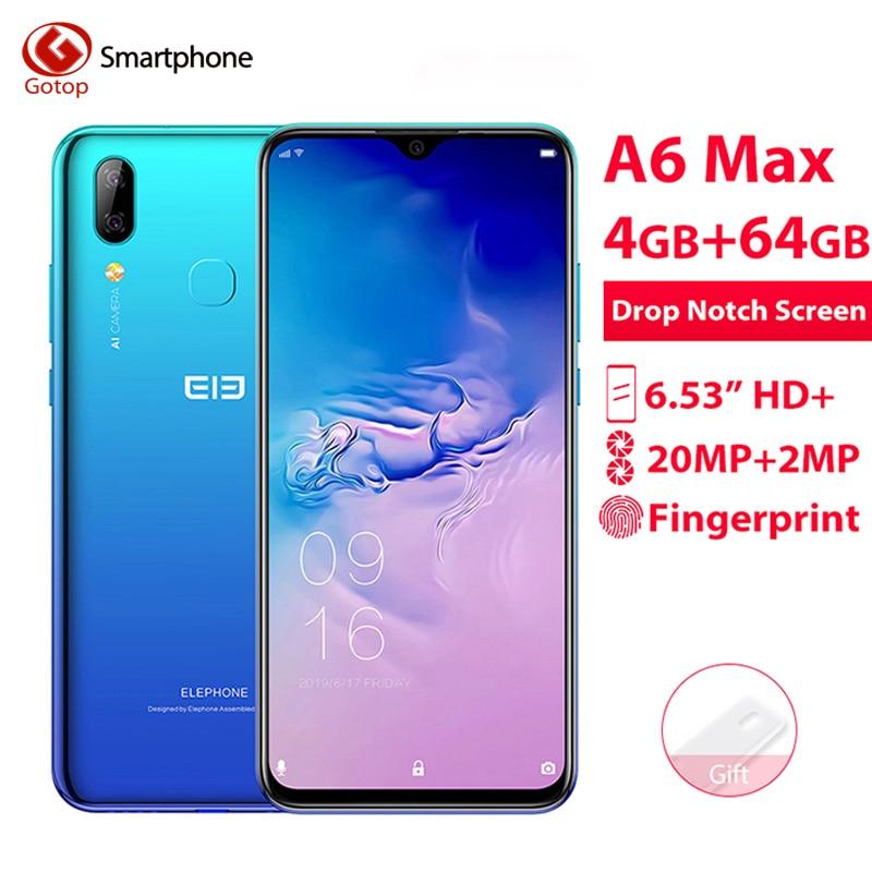 Elephone A6 MAX 6.53'' Android 9.0 4GB 64GB MT6762V Smartphone Octa Core 20MP Fingerprint 5V/2A 3400mAh 4G OTG NFC Mobile Phone