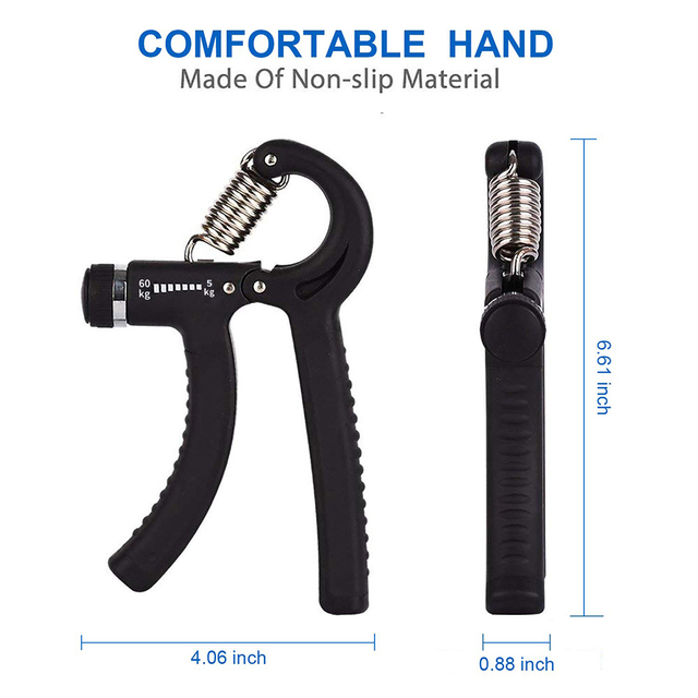 WorthWhile 5-60Kg Gym Fitness Hand Grip Men Adjustable Finger Heavy Exerciser Strength for Muscle Recovery Hand Gripper Trainer 6