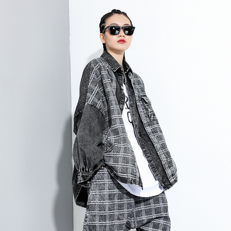 [EAM] Loose Fit Black Plaid Denim Big Size Jacket New Lapel Long Sleeve Women Coat Fashion Tide Spring Autumn 2020 1DA091 3