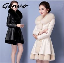 Genuo New 2019 Women leather long section new winter fur Slim faux jacket fashion women