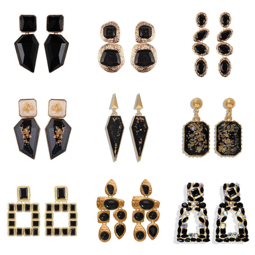 Miwens جديد 2019 جميع الأسود اللون المعادن كريستال أكريليك إسقاط أقراط سيدة بنات اليدوية بيان مجوهرات اكسسوارات A568