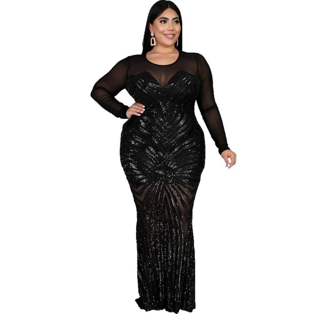 Sequin pure maille Sexy Bodycob Maxi robe femmes grande taille à manches longues voir à travers la boîte de nuit fête robes moulantes