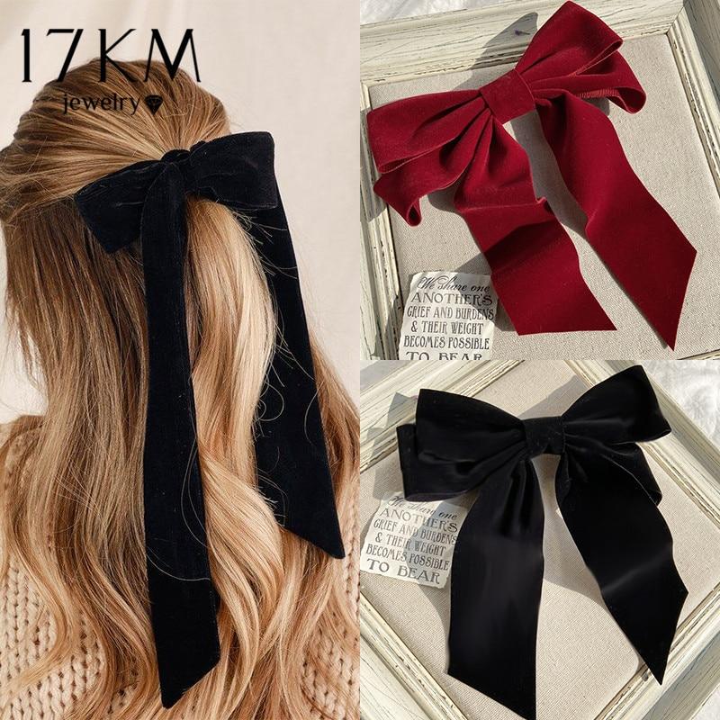 17KM Vintage Black Big Large Velvet Bow Hair Clip For Women Girls Wedding Long Ribbon Korean Hairpins Barrette Hair Accessories