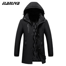 Winter Jackets Men Parka Casual Mid Long Thick Winter Coat Men Solid Hooded Parka Male Clothes Overcoat Outerwear Men(China)