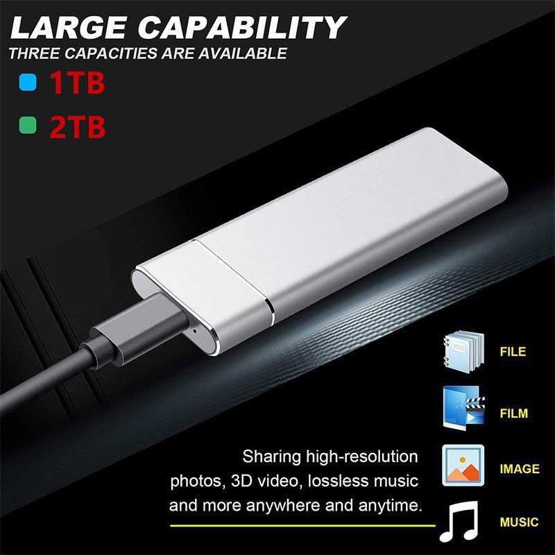 2TB Portable External Hard Drive USB 3.0 HDD Ultra-thin 1TB Hard Disk Storage Devices For Desktop Laptop Computer 1
