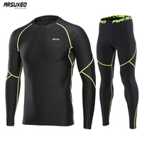 ARSUXEO Men Running Set Sport suits Long Sleeve Winter Fleece Compression Tights Pants Sport Shirts Tracksuit Gym Clothing U81kk