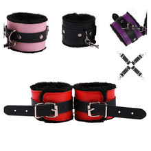 New Adjustable Leather Bondage Handcuffs Ankle Cuffs Rope Toys With Cross Bandag