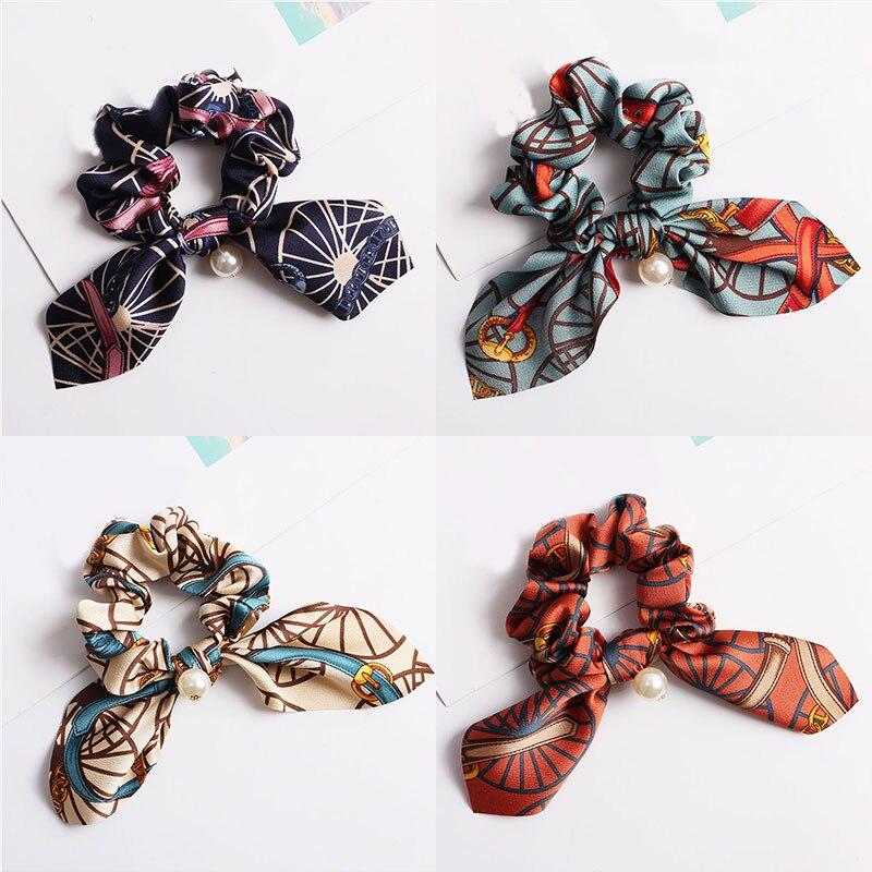 New Hair Bands For Women Girls Elastic Bowknot Pearl Scrunchies Headband Hair Ties Rope Haar Hair Accessories Ponytail Holder