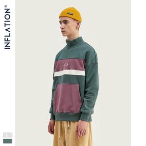 Image 2 - INFLATION Men High collar Sweatshirt Block color Mens Sweatshirt  Pouch Pocket Loose Fit Mens Streetwear Sweatshirt 9645W