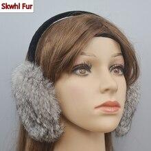 Women Winter Warm 100% Natural Real Rabbit Fur Earmuffs Winter Fashion Girls Real Rabbit Fur Earmuff Russian Plush Fur Earflap