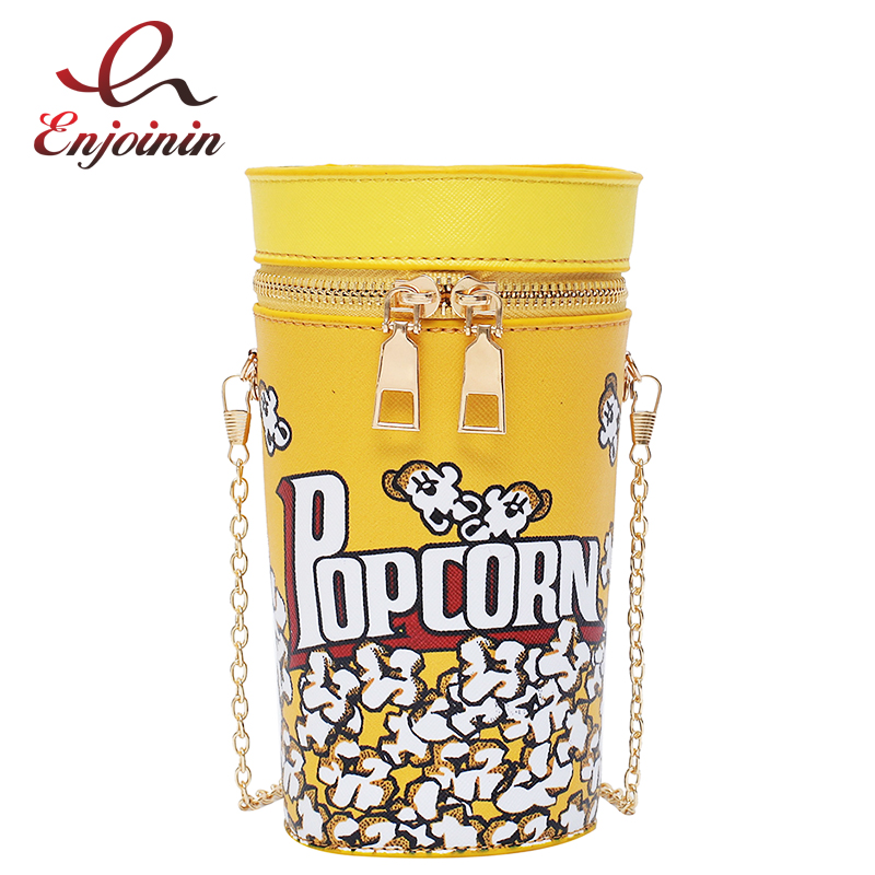Yellow Popcorn Pattern Fashion Pu Leather Young Girl's Chain Bag Purses And Handbags Shoulder Bag Women Casual Tote Bag Pouch