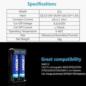 Image 2 - 2019 новые Зарядное устройство ЖК дисплей XTAR VC2 SC2 VC2S MC2 плюс USB Батарея Зарядное устройство для 20700 21700 18700 22650 25500 26650 18650 Батарея