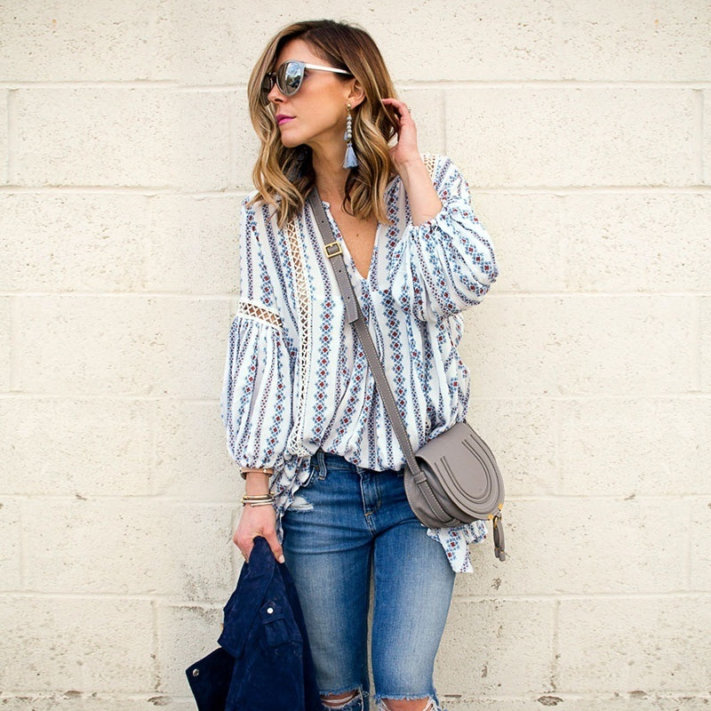 fashion 2020  female womens top shirt Bohemian women blouse Hollow Out Hem Long Sleeve Cut Out Floral Print fall Tops 90s