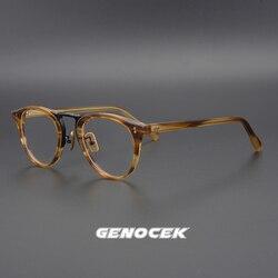Роскошные винтажные ацетатные очки для близорукости, мужские круглые очки по рецепту, оправа для женщин и мужчин, ретро оптические очки