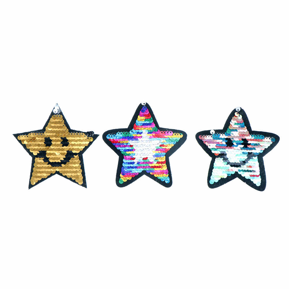 1pc Stelle a Cinque punte Ricamato Paillettes Appliques Toppe E Stemmi Sew Ferro On Reversibile Vestiti Sticker Badge Cambiamento di Colore