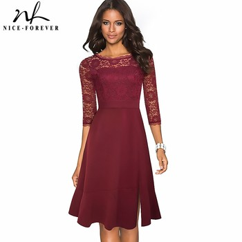 Nice-forever Vintage Pure Color with Floral Lace Patchwork Side Split Dresses Cocktail Party A-Line Women Flared Dress A225 - discount item  59% OFF Dresses