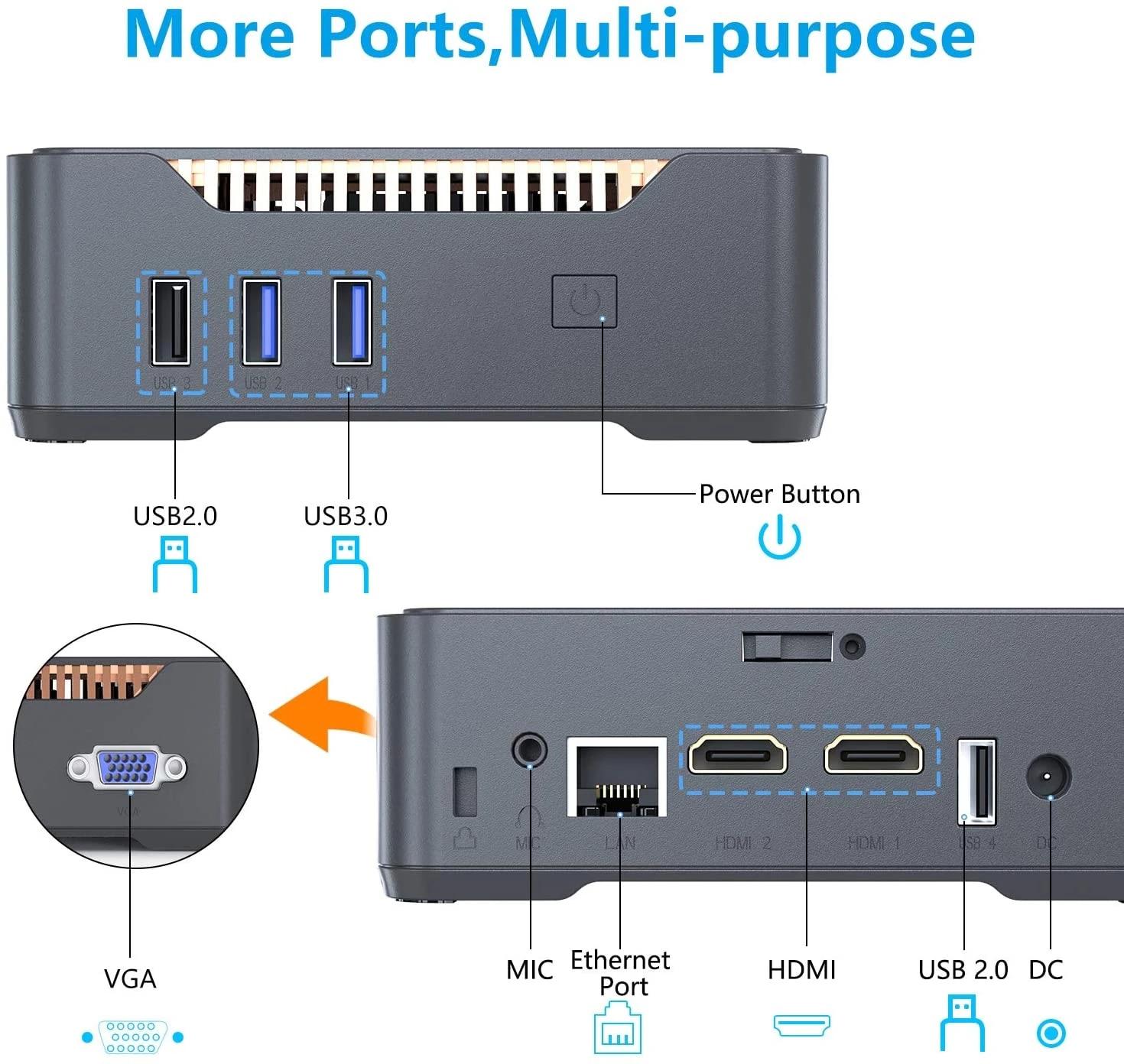 GK3V Windows 10 Pro Key Mini PC Intel Gemini Lake J4125 8GB DDR4 128GB 256GB 512GB SSD Gaming PC 2.4G5G WiFi 1000M Mini Computer 5