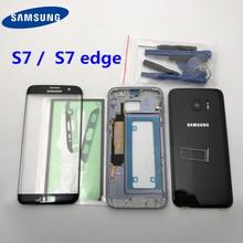 Funda completa para Samsung Galaxy S7 edge G935 G935F G930F, cristal de pantalla frontal y Marco medio, piezas completas