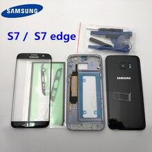 Pełna obudowa tylna pokrywa + przód do szkła ekranu i soczewek + środkowa ramka do Samsung Galaxy S7 edge G935 G935F G930F kompletne części