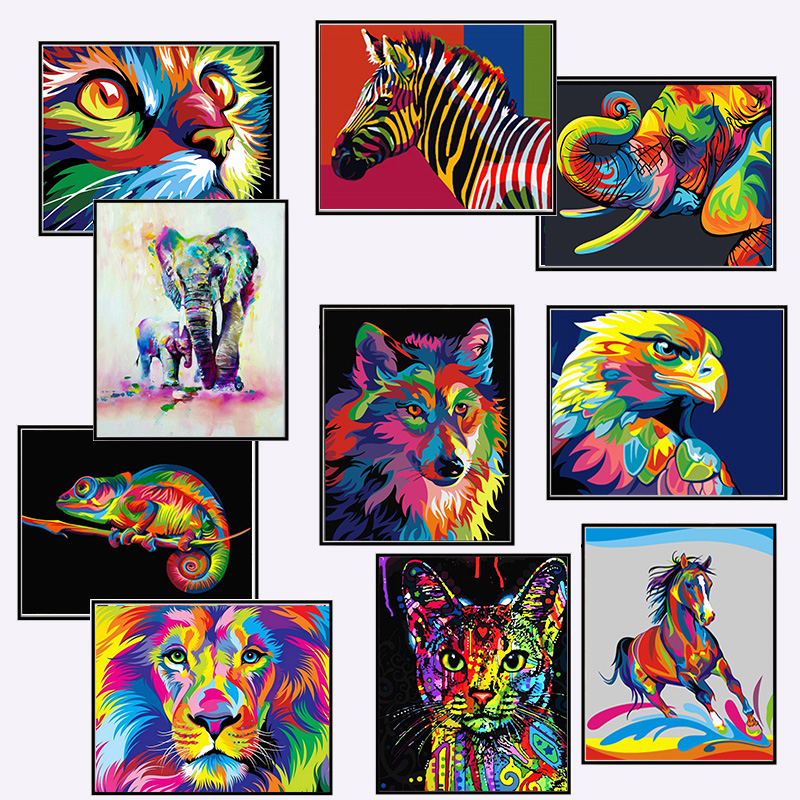 HOT Frame Dazzling Animals DIY Oil Painting By Numbers Wall Art Canvas Animals Picture DIY Drawing Painting For Home Decoration(China)