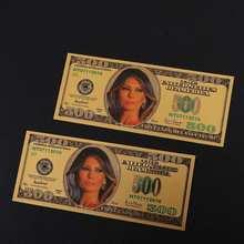 Американская первая леди, млания Трамп, 500 долларов США, позолоченный купюр, новинка, Банкнота