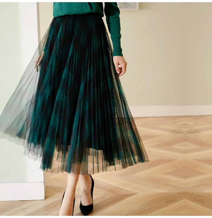 H9957095411cd470ebd58f13e121ec5510 - TIGENA Green Red Long Plaid Tutu Tulle Skirt Women Fashion New Elegant A Line High Waist Pleated Maxi Skirt Female Ladies