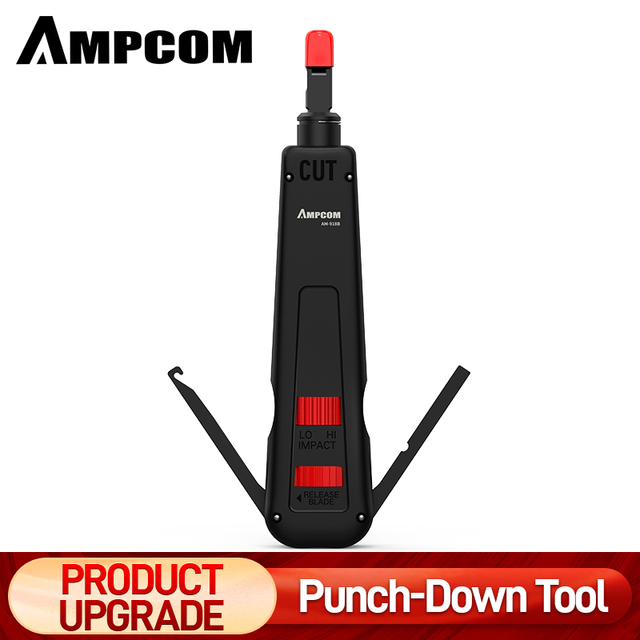 Punch Down Tool, AMPCOM 110 Type Multi-function Network Cable Tool with Two Blades Telephone Impact Terminal Insertion Tools 1