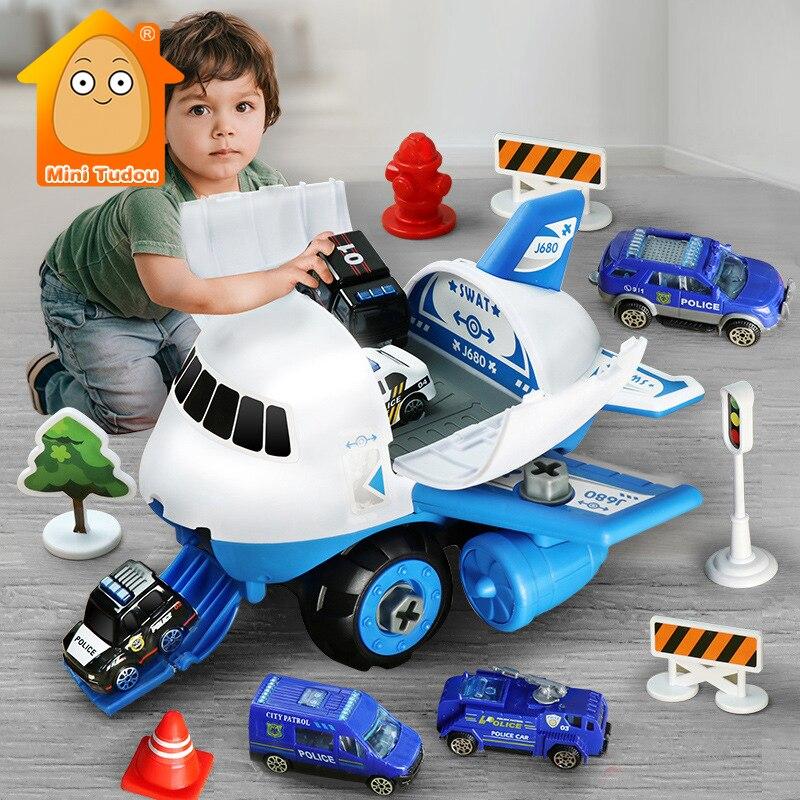 DIY Simulation Track Inertia Airplane Passenger Aircraft Car Model Set Vehicles Parking Station Game Educational Toys For Boy