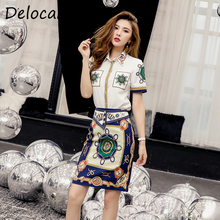 Delocah New Women Summer Suit Runway Fashion Single Breasted Short Sleeve Shirt And Vintage Printed Skirt Two Pieces Lady Set