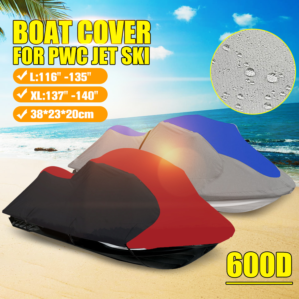 600D Polyester Universal 3 Person Solution Dyed Waterproof Boat Cover PWC Jet Ski 294-342cm and 348-356cm Length Bag image