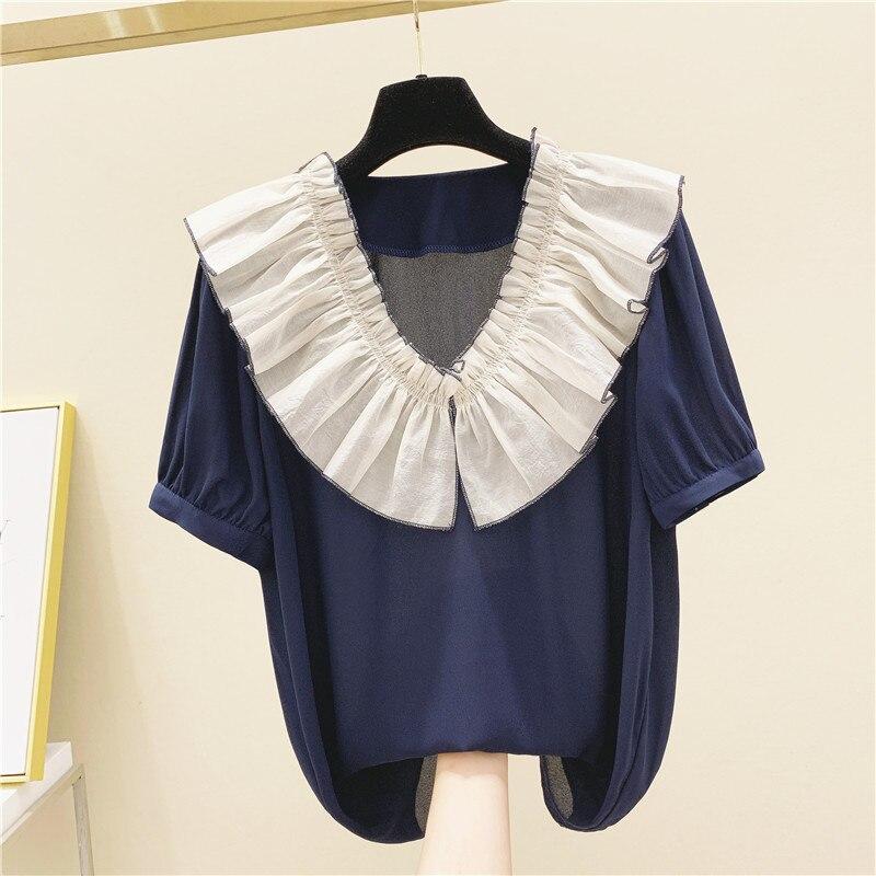 Ruffled Doll Collar Short-sleeved Chiffon Shirt Female 2020 Summer New Korean Loose Loose Ageing Hong Kong Design Blouses Tops