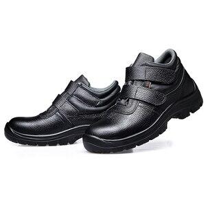 Image 5 - Mens מזדמן גדול גודל בטיחות מגפיים פרה עור פלדת הבוהן מכסה עבודה ריתוך נעליים בחוץ עובד אבטחה קרסול אתחול sapatos