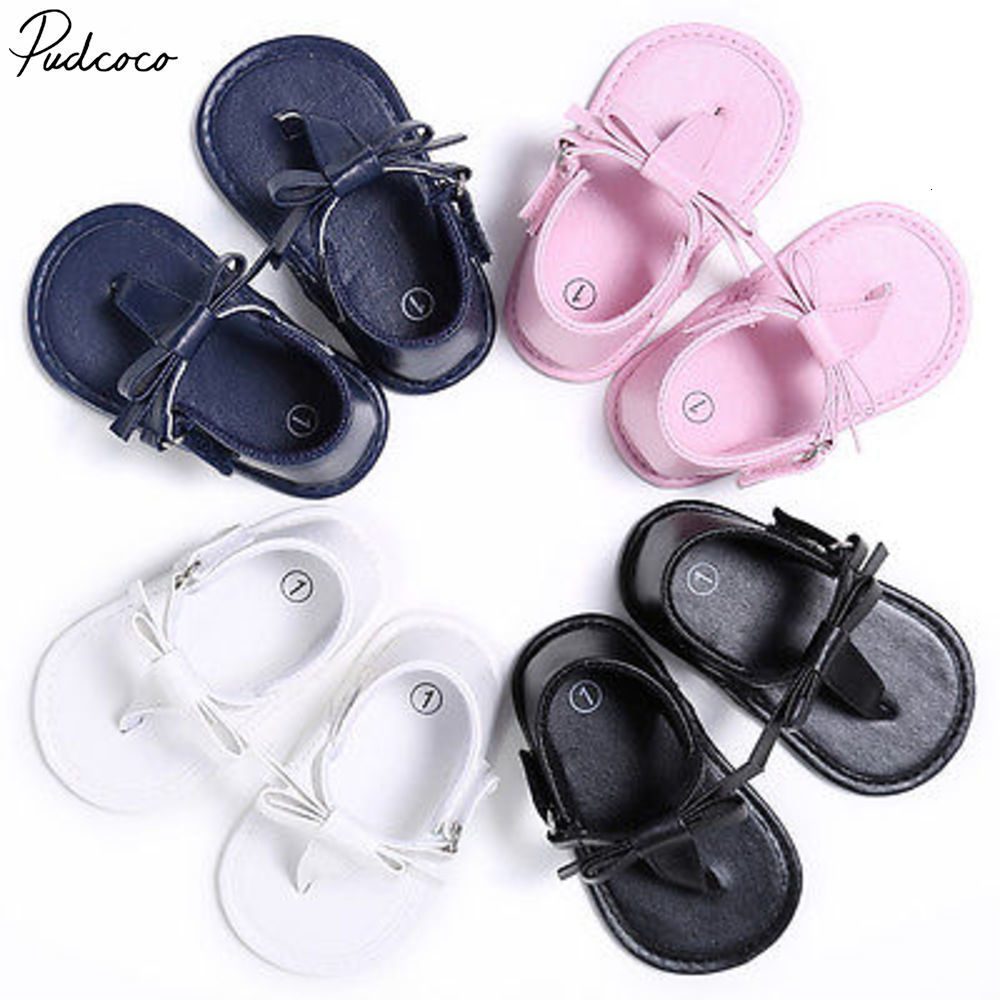 Pudcoco Baby Summer Flip-flops Bow-knot Sandals Infant Girls Soft Sole Shoes 0-18m