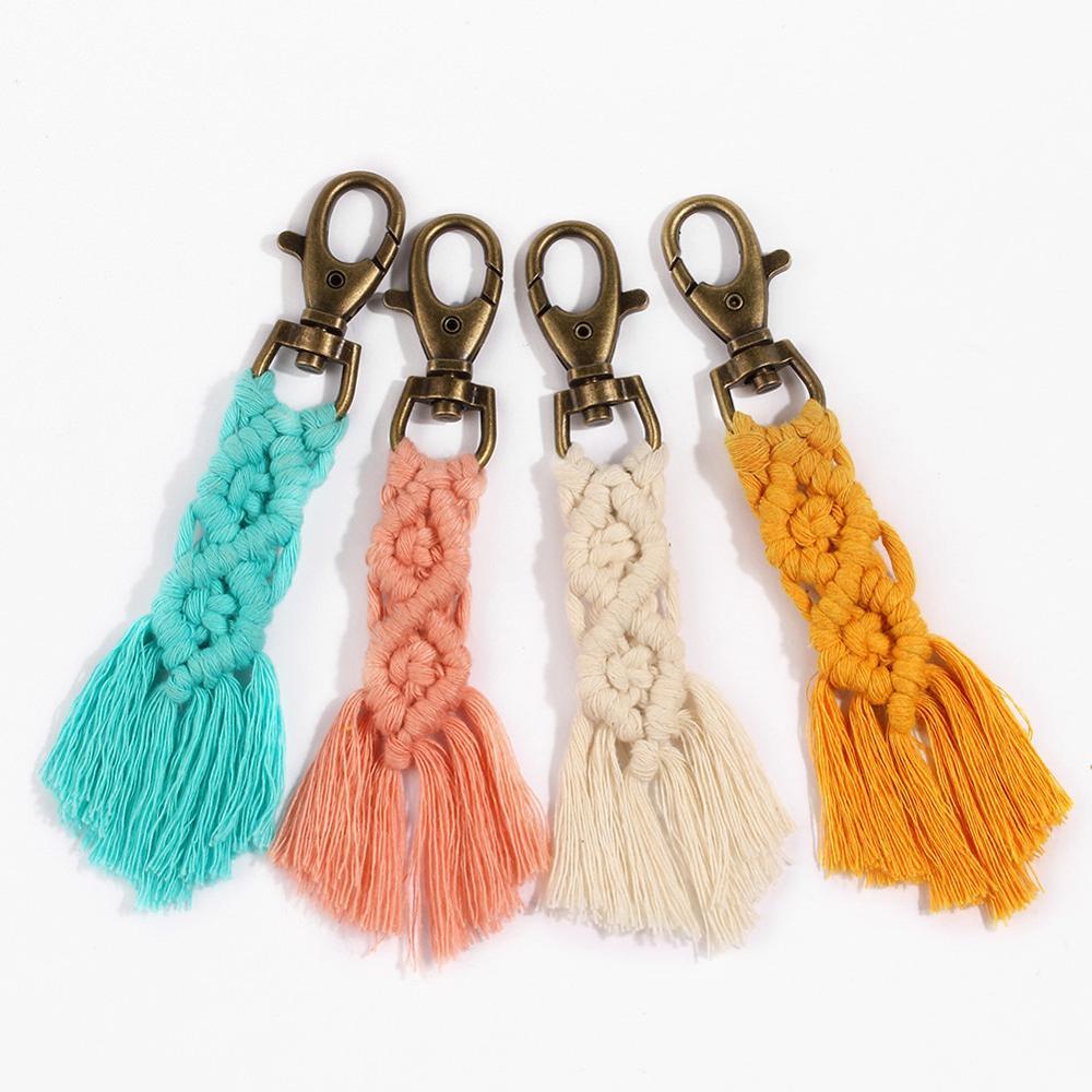 2020 New Fashion Hawaii Tassel Keychain Llaveros Para Mujeres Boho Key Holder Key Chain Macrame Bag Charm Jewelry Gift