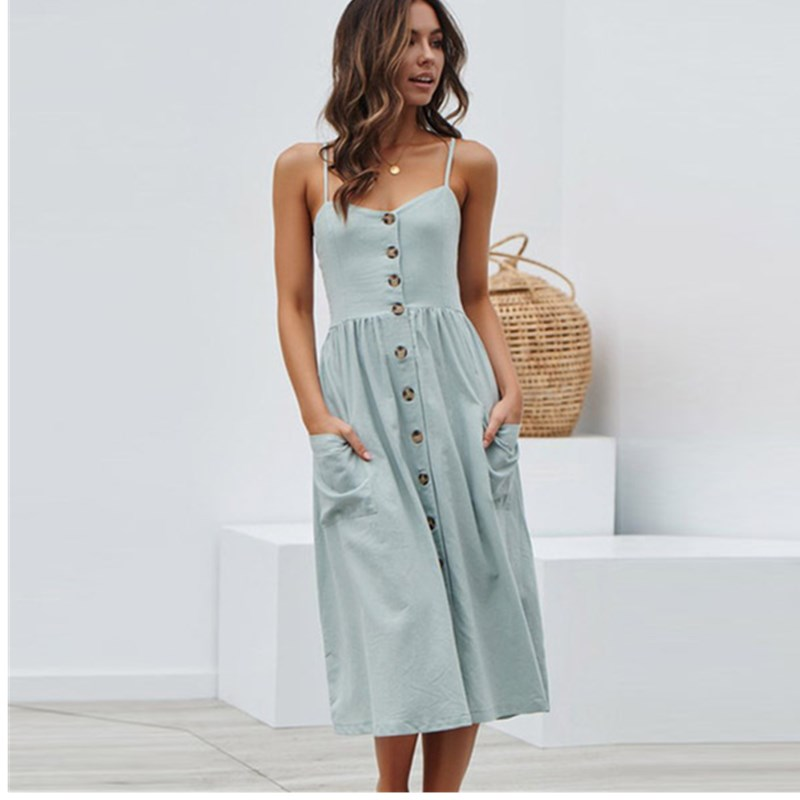 Oufisun Summer Sexy Backless Spaghetti Strap Midi Dress Solid Color Sleeveless Button Casual Women Dress Women's Party Dresses