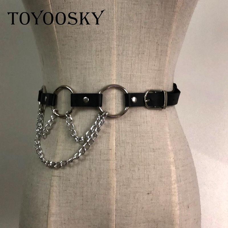 TOYOOSKY 2019 Cool Tide Women Fashion Gothic Leather Punk Rock Hip Hop Circle Ring Chain Designer Waist Belts Black Female