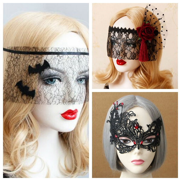 Sexy Gothic Bat Lace Eye MASK Patch Spider Tassels Halloween Masquerade Cosplay