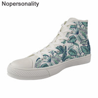 Nopersonality Women Vulcanize Shoes Tropical Leaves Print High Top Canvas Shoes Casual Ladies Female Lace up Cool Light Sneakers