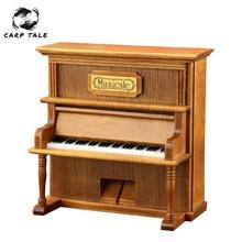 Piano de imitación de calidad, decoraciones Vintage para el hogar, 1 Uds., manivela cuadrada clásica de madera, exquisitas cajas de música Retro para regalo
