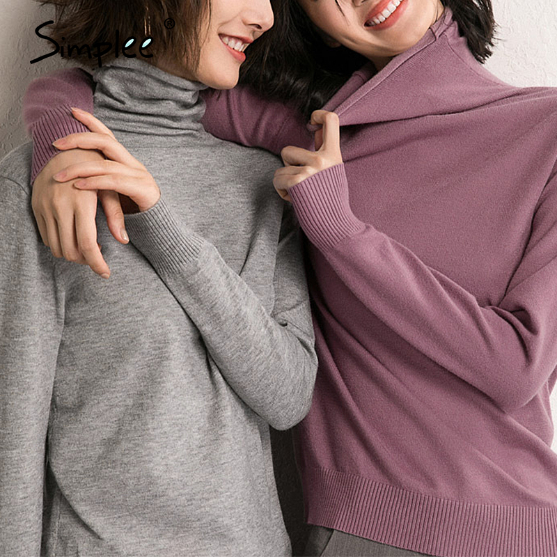 Simplee Leisure high collar sweater Cosy slim long sleeve Pullover Home style fashion women