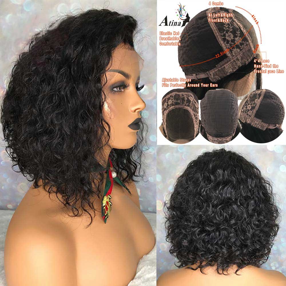 Curly Human Hair Wig Short Pixie Cut Bob 4X4 Lace Closure Wig Pre Plucked With Baby Hair 150 Density Atina Brazilian Remy Front
