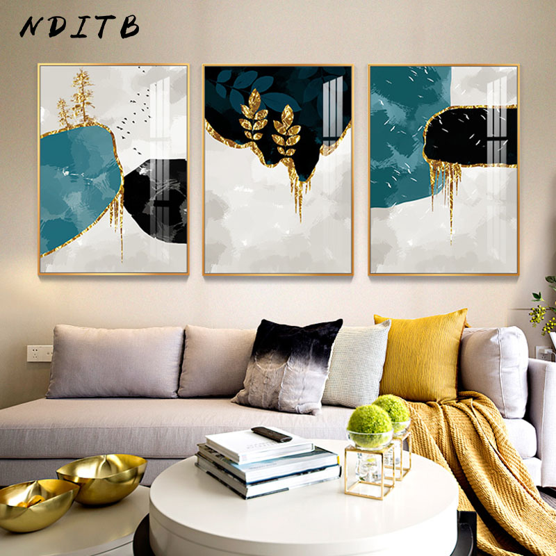 Abstract Shape Golden Leaf Painting Minimalist Canvas Art Poster Print Modern Wall Picture Living Room Corridor Decor