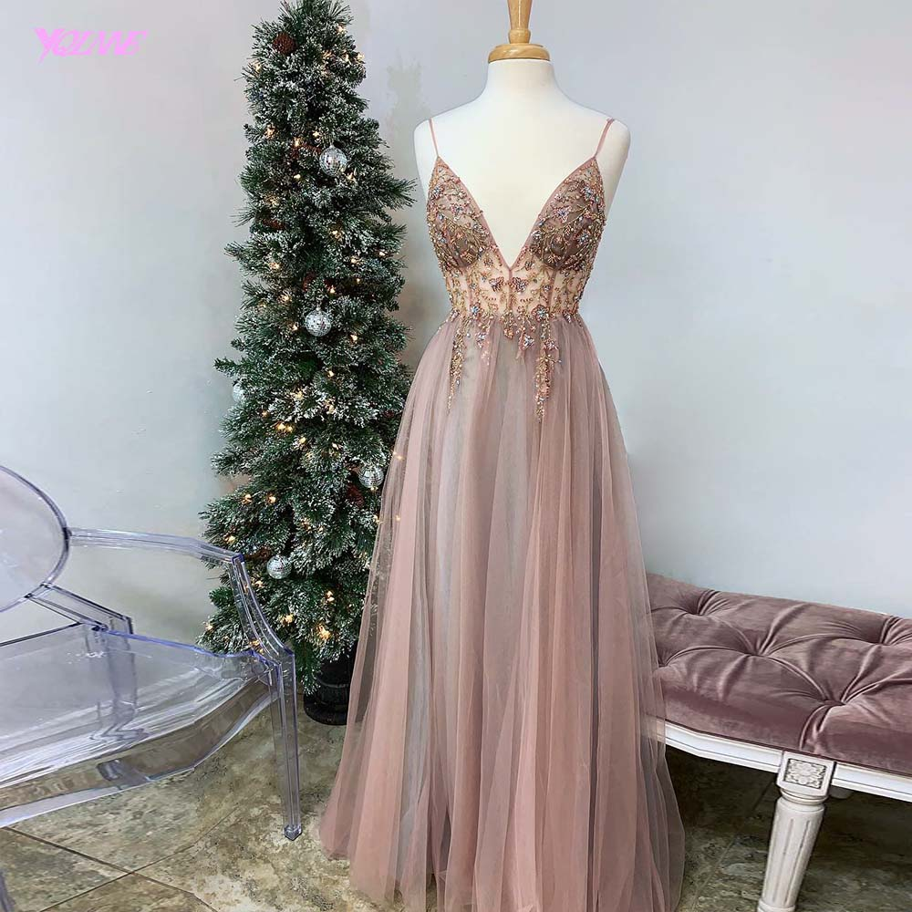 New Arrival Sexy Straps Pink Tulle Long Prom Dresses Crystals Beaded Party Dress Formal Gowns Backless Count Train Real Photos