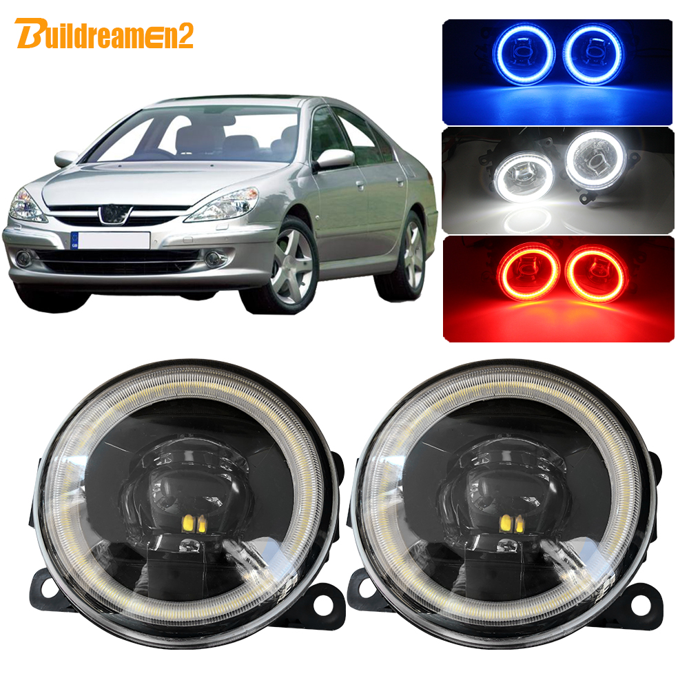Buildreamen2 For <font><b>Peugeot</b></font> <font><b>607</b></font> (9D, 9U) Saloon Car 4000LM LED Fog Light Lens Angel Eye DRL 12V 2000 2001 2002 2003 <font><b>2004</b></font> 2005 2006 image