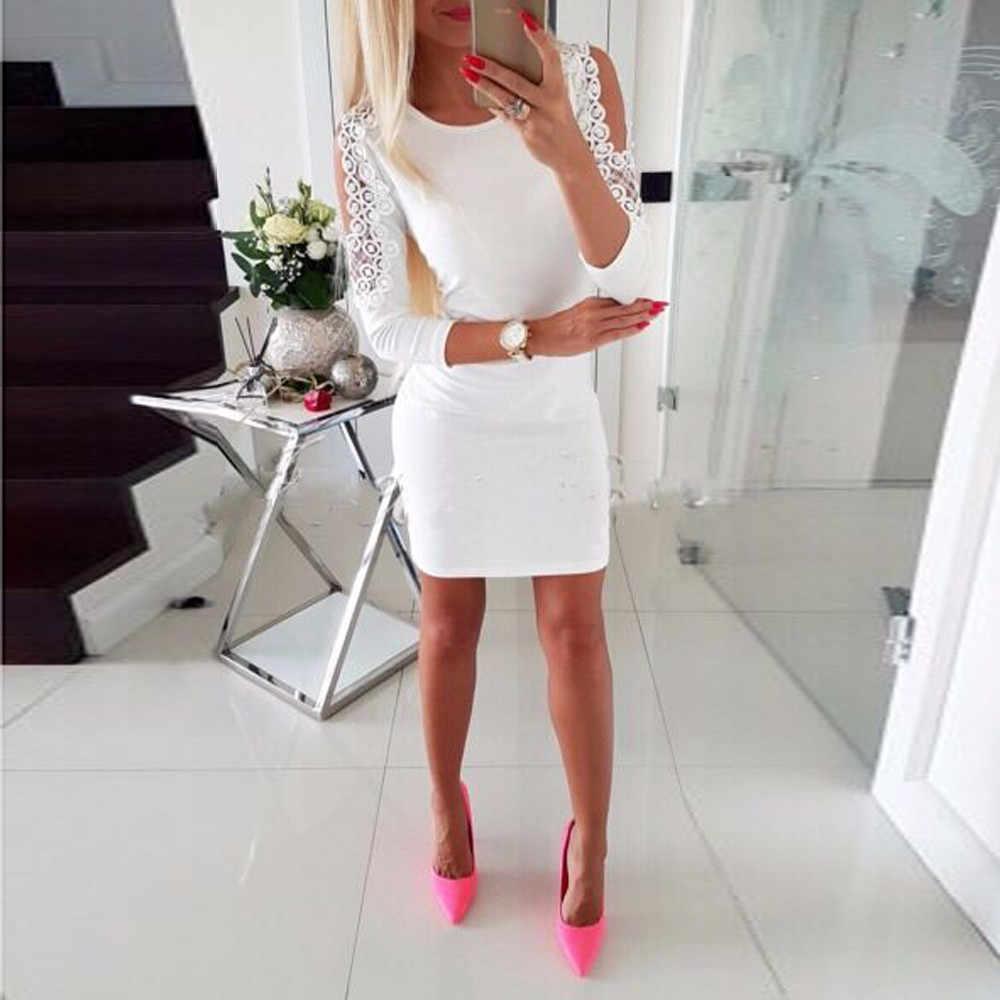 38 # robe pour femmes mode Sexy mode femmes dentelle perle sans bretelles en trois dimensions maigre moulante robe de soirée