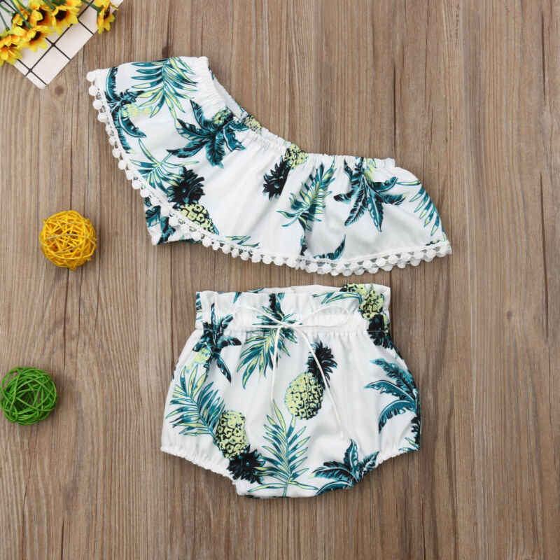 Toddler Girls Pineapple Print Bikini Set Ruffle Crop Tops Shorts Briefs Outfit Kids Two Piece Summer Fashion Swimwear Beachwear