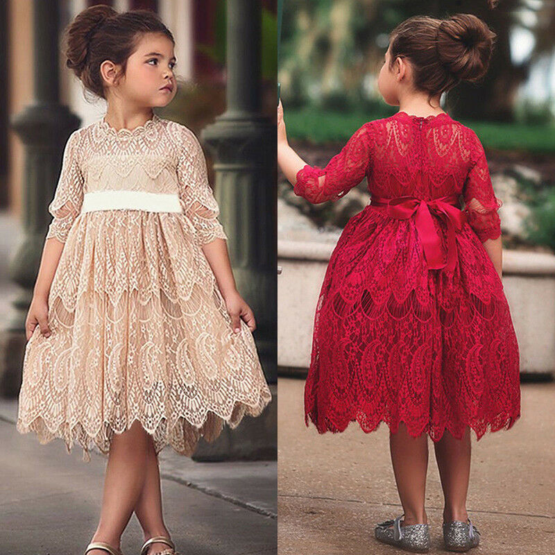 XMAS Toddler Kids Baby Girl Flower Lace Crochet Tutu Dress Princess Vestidos Sleeveless Formal Party Pageant Wedding Dresses