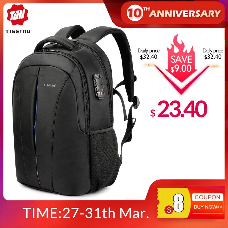 Tigernu Splashproof 15.6inch Laptop Backpack NO Key TSA Anti Theft Men Backpack Travel Teenage Backpack Bag Male Bagpack Mochila